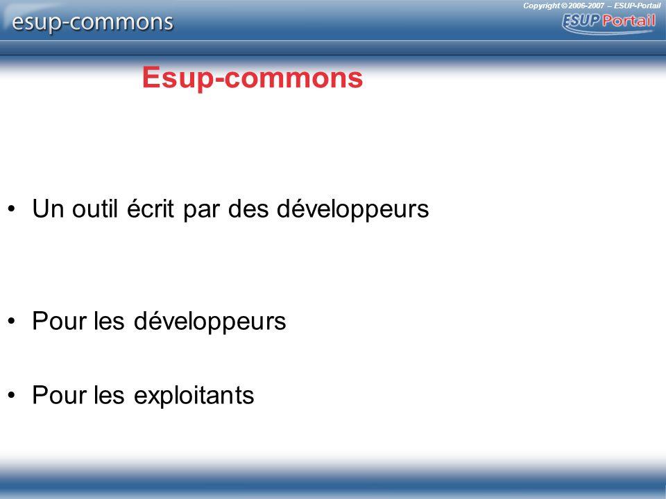Copyright © 2006-2007 – ESUP-Portail Déploiement simplifié (build.properties) Déploiement en portlet –deploy.type=portlet deploy.home=C:/uPortal/portlets Déploiement en servlet –deploy.type=servlet deploy.home=C:/Tomcat/webapps Déploiement Quick-start –quick-start=true