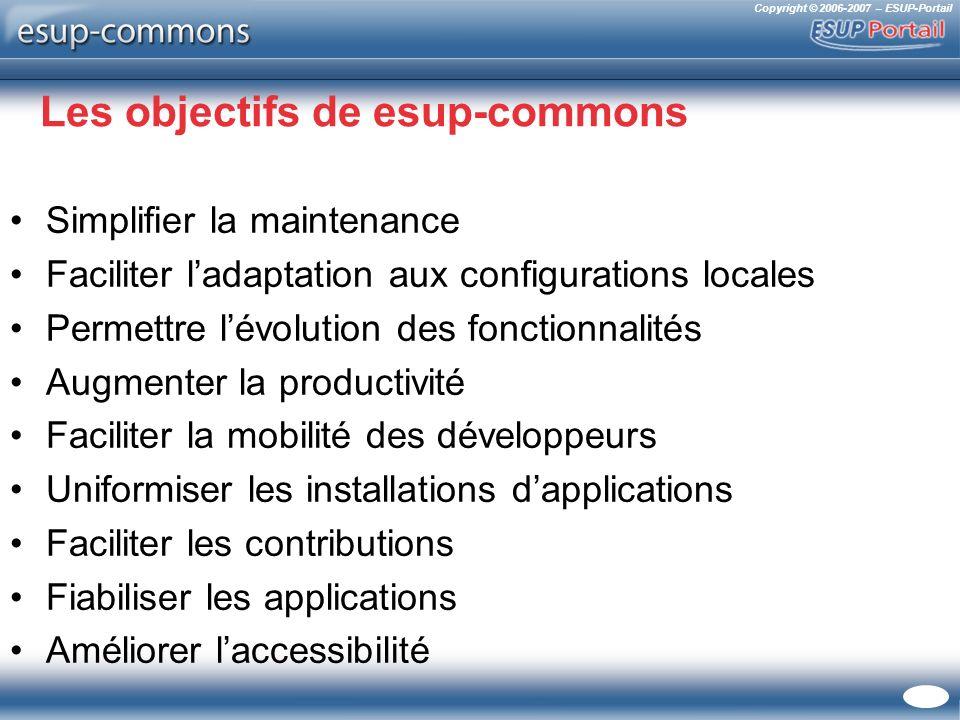 Copyright © 2006-2007 – ESUP-Portail Les objectifs de esup-commons Simplifier la maintenance Faciliter ladaptation aux configurations locales Permettr