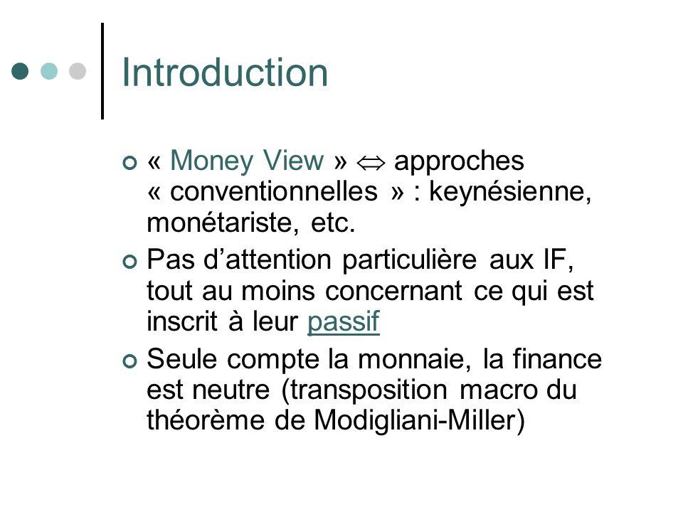 Introduction « Money View » approches « conventionnelles » : keynésienne, monétariste, etc. Pas dattention particulière aux IF, tout au moins concerna
