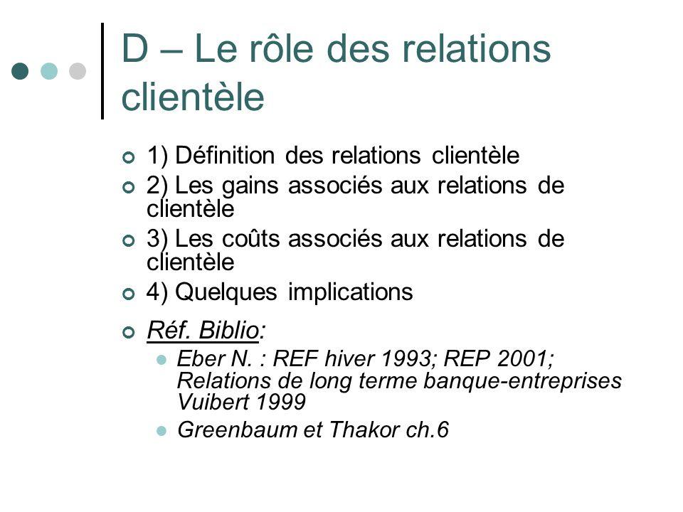 D – Le rôle des relations clientèle 1) Définition des relations clientèle 2) Les gains associés aux relations de clientèle 3) Les coûts associés aux r