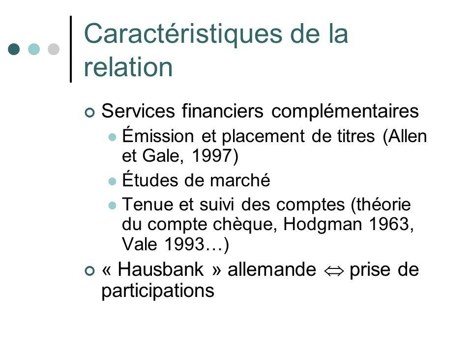 Caractéristiques de la relation Services financiers complémentaires Émission et placement de titres (Allen et Gale, 1997) Études de marché Tenue et su
