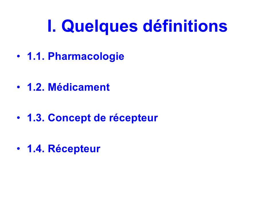 I. Quelques définitions 1.1. Pharmacologie 1.2. Médicament 1.3. Concept de récepteur 1.4. Récepteur