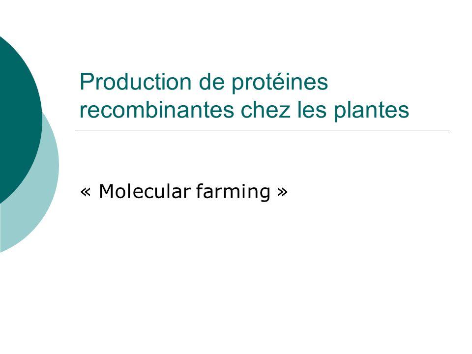 Définition « Molecular farming » : Production de protéines dintérêt pharmaceutique par des organismes recombinants Franken et al.