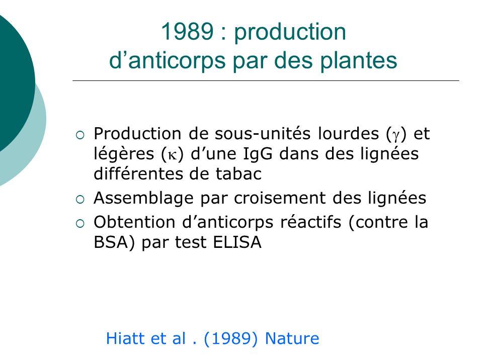 1989 : production danticorps par des plantes Production de sous-unités lourdes () et légères () dune IgG dans des lignées différentes de tabac Assembl