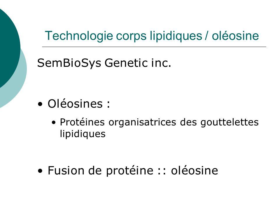 Technologie corps lipidiques / oléosine SemBioSys Genetic inc. Oléosines : Protéines organisatrices des gouttelettes lipidiques Fusion de protéine ::