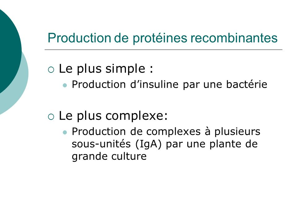 Production de protéines recombinantes Le plus simple : Production dinsuline par une bactérie Le plus complexe: Production de complexes à plusieurs sou