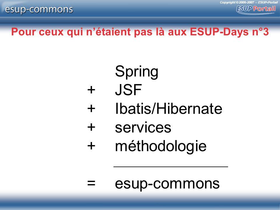 Copyright © 2006-2007 – ESUP-Portail Pour ceux qui nétaient pas là aux ESUP-Days n°3 Spring +JSF + Ibatis/Hibernate +services +méthodologie = esup-commons