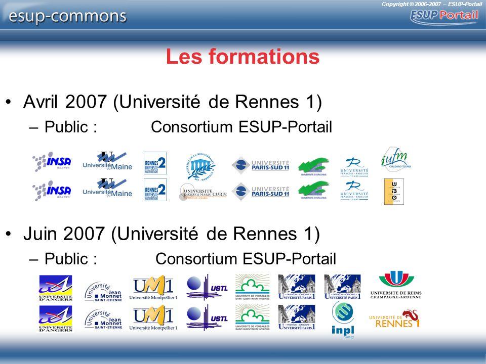 Copyright © 2006-2007 – ESUP-Portail Les formations Avril 2007 (Université de Rennes 1) –Public : Consortium ESUP-Portail Juin 2007 (Université de Rennes 1) –Public : Consortium ESUP-Portail