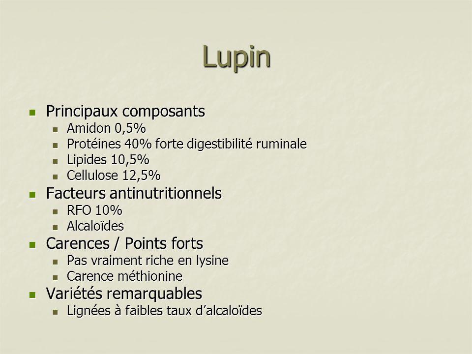 Lupin Principaux composants Principaux composants Amidon 0,5% Amidon 0,5% Protéines 40% forte digestibilité ruminale Protéines 40% forte digestibilité