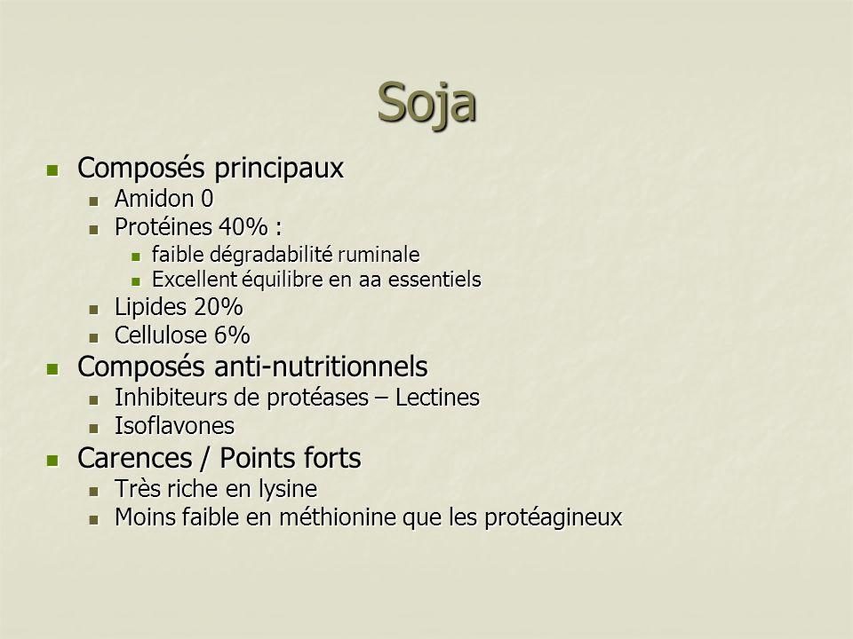 Soja Composés principaux Composés principaux Amidon 0 Amidon 0 Protéines 40% : Protéines 40% : faible dégradabilité ruminale faible dégradabilité rumi