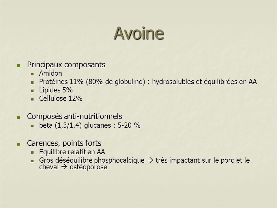 Lupin Principaux composants Principaux composants Amidon 0,5% Amidon 0,5% Protéines 40% forte digestibilité ruminale Protéines 40% forte digestibilité ruminale Lipides 10,5% Lipides 10,5% Cellulose 12,5% Cellulose 12,5% Facteurs antinutritionnels Facteurs antinutritionnels RFO 10% RFO 10% Alcaloïdes Alcaloïdes Carences / Points forts Carences / Points forts Pas vraiment riche en lysine Pas vraiment riche en lysine Carence méthionine Carence méthionine Variétés remarquables Variétés remarquables Lignées à faibles taux dalcaloïdes Lignées à faibles taux dalcaloïdes