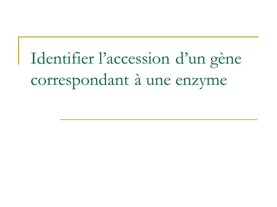 Identifier laccession dun gène correspondant à une enzyme