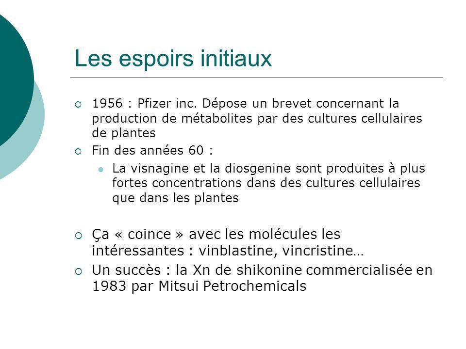 Cultures in vitro pour la production de métabolites secondaires Un dogme ancien et erroné : « les suspensions cellulaires ne produisent pas de métabolites secondaires » (1940-1970) Une technologie récente (1975- 1985) et des résultats assez peu nombreux…