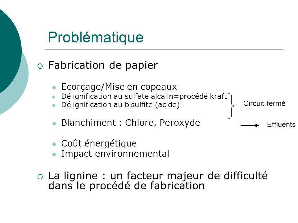 Principaux constituants du bois Lignine (25%) (exemple de polymérisation de quelques unités G) Cellulose (50%) Hémicellulose (25%)