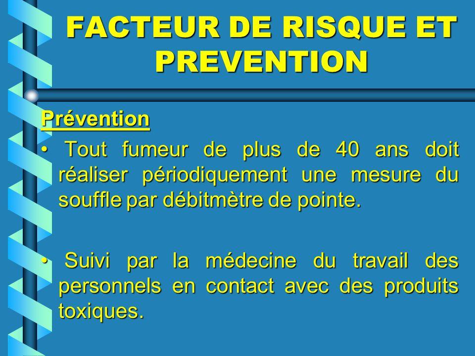 FACTEUR DE RISQUE ET PREVENTION Prévention Prévention Tout fumeur de plus de 40 ans doit réaliser périodiquement une mesure du souffle par débitmètre