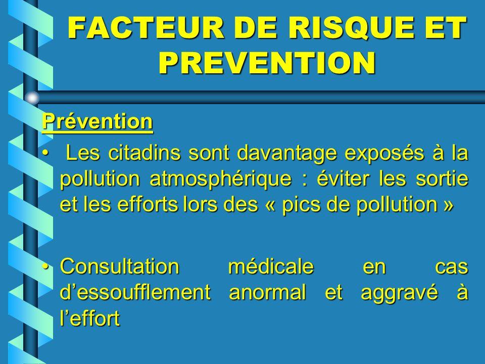 FACTEUR DE RISQUE ET PREVENTION Prévention Prévention Les citadins sont davantage exposés à la pollution atmosphérique : éviter les sortie et les effo