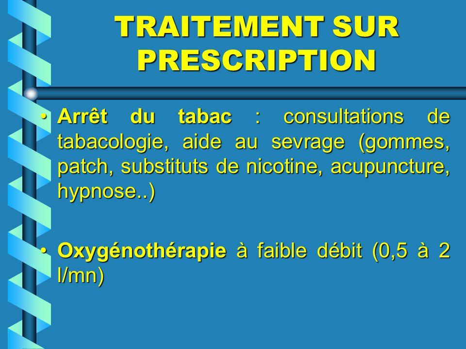 TRAITEMENT SUR PRESCRIPTION Arrêt du tabac : consultations de tabacologie, aide au sevrage (gommes, patch, substituts de nicotine, acupuncture, hypnos