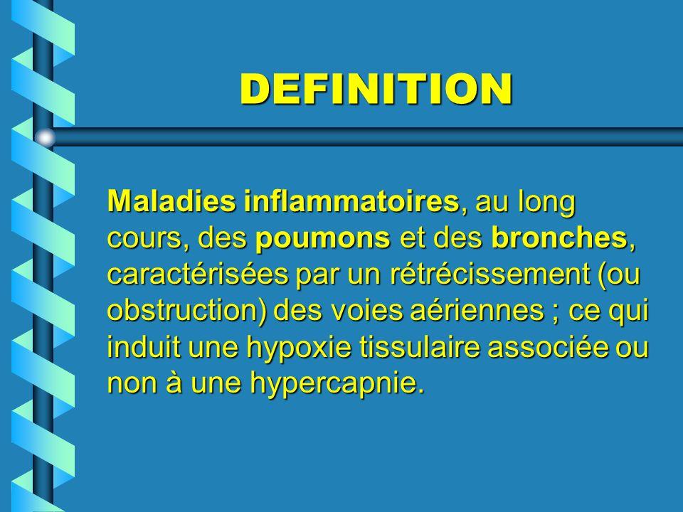DEFINITION Maladies inflammatoires, au long cours, des poumons et des bronches, caractérisées par un rétrécissement (ou obstruction) des voies aérienn
