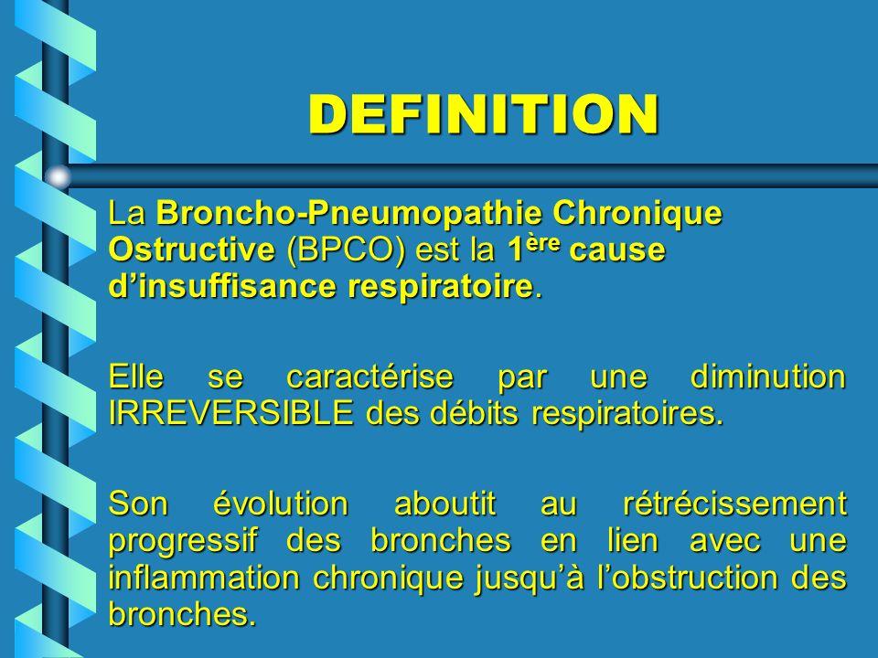 DEFINITION La Broncho-Pneumopathie Chronique Ostructive (BPCO) est la 1 ère cause dinsuffisance respiratoire. Elle se caractérise par une diminution I