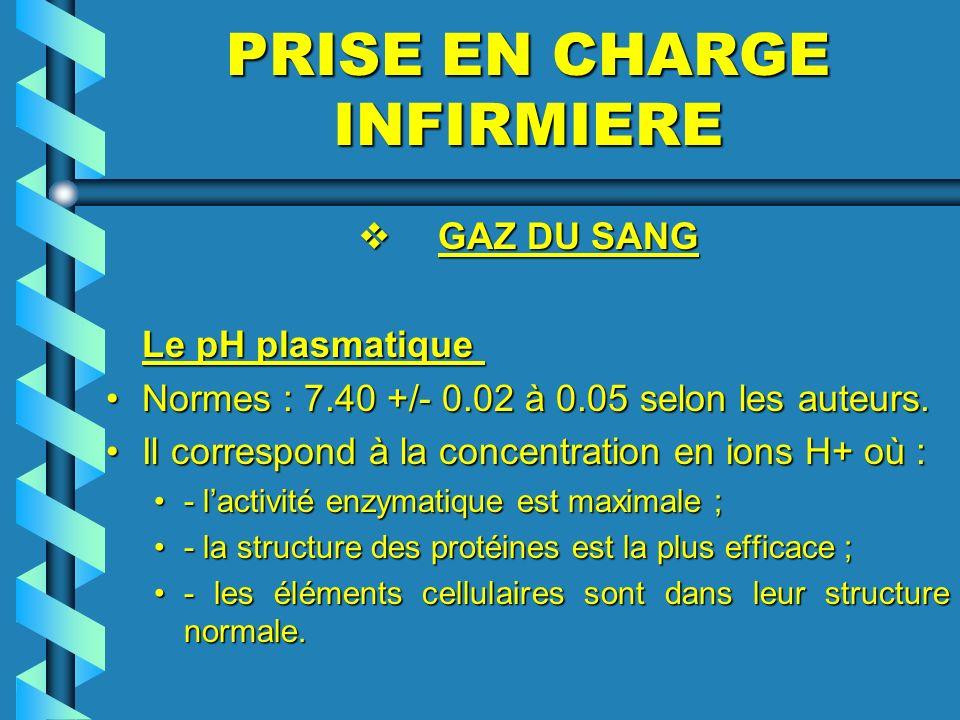 PRISE EN CHARGE INFIRMIERE GAZ DU SANG GAZ DU SANG Le pH plasmatique Le pH plasmatique Normes : 7.40 +/- 0.02 à 0.05 selon les auteurs.Normes : 7.40 +