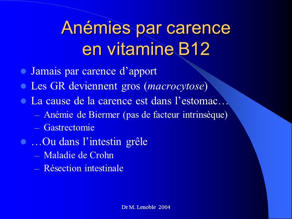 Dr M. Lenoble 2004 Anémies par carence en vitamine B12 Jamais par carence dapport Les GR deviennent gros (macrocytose) La cause de la carence est dans