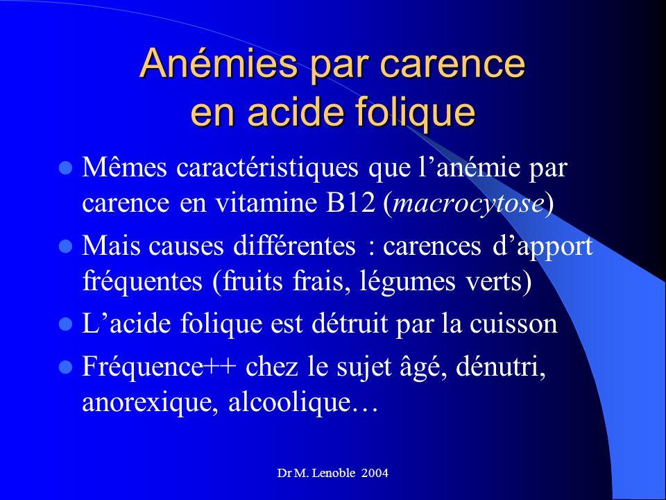 Dr M. Lenoble 2004 Anémies par carence en acide folique Mêmes caractéristiques que lanémie par carence en vitamine B12 (macrocytose) Mais causes diffé