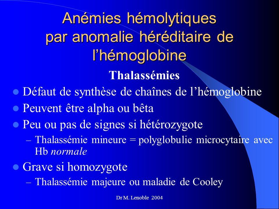 Dr M. Lenoble 2004 Anémies hémolytiques par anomalie héréditaire de lhémoglobine Thalassémies Défaut de synthèse de chaînes de lhémoglobine Peuvent êt