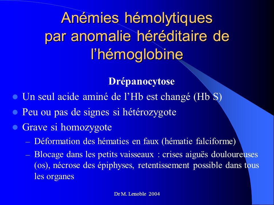 Dr M. Lenoble 2004 Anémies hémolytiques par anomalie héréditaire de lhémoglobine Drépanocytose Un seul acide aminé de lHb est changé (Hb S) Peu ou pas