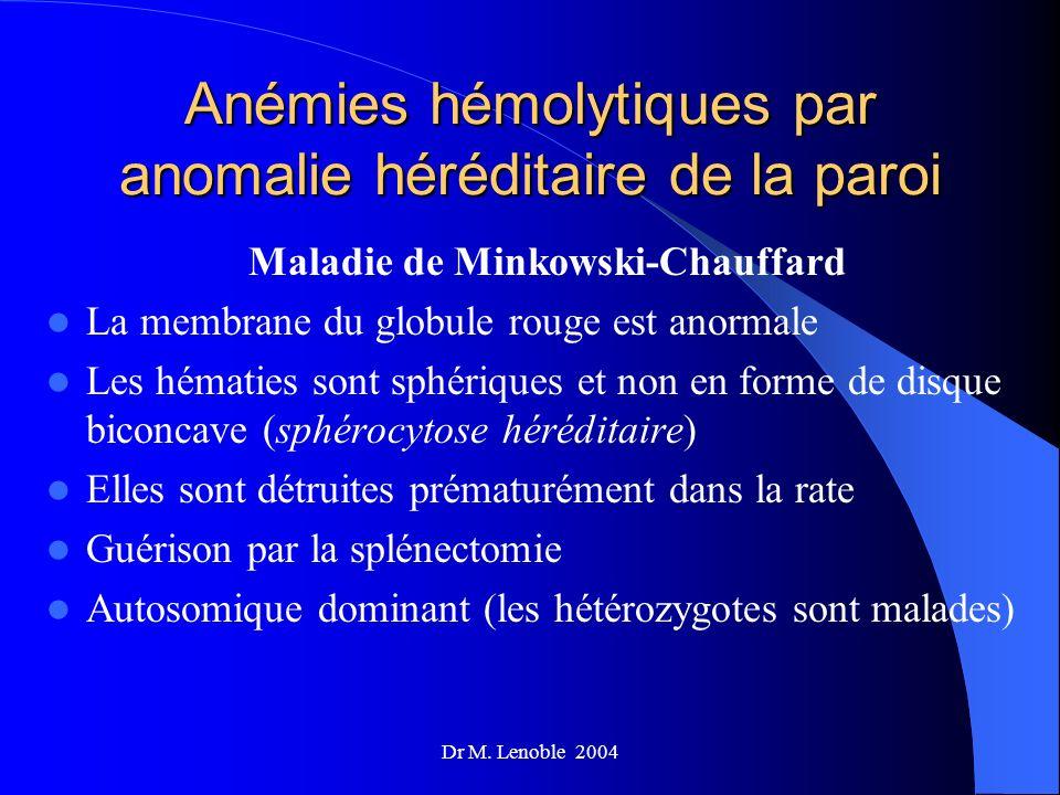 Dr M. Lenoble 2004 Anémies hémolytiques par anomalie héréditaire de la paroi Maladie de Minkowski-Chauffard La membrane du globule rouge est anormale