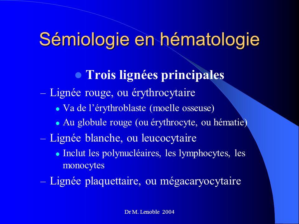 Dr M. Lenoble 2004 Sémiologie en hématologie Trois lignées principales – Lignée rouge, ou érythrocytaire Va de lérythroblaste (moelle osseuse) Au glob