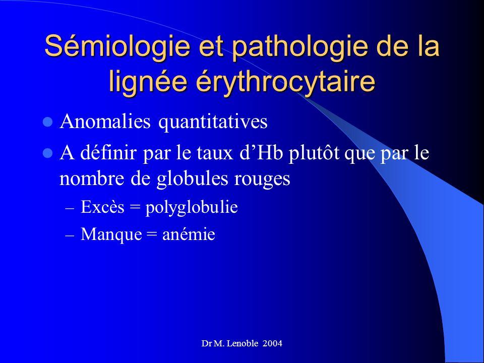 Sémiologie et pathologie de la lignée érythrocytaire Anomalies quantitatives A définir par le taux dHb plutôt que par le nombre de globules rouges – E