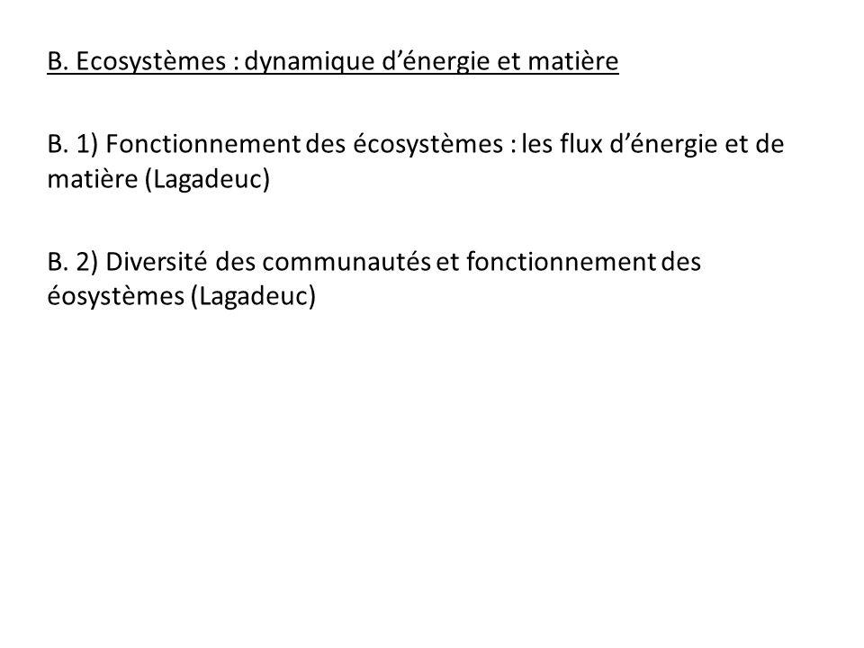 B. Ecosystèmes : dynamique dénergie et matière B. 1) Fonctionnement des écosystèmes : les flux dénergie et de matière (Lagadeuc) B. 2) Diversité des c