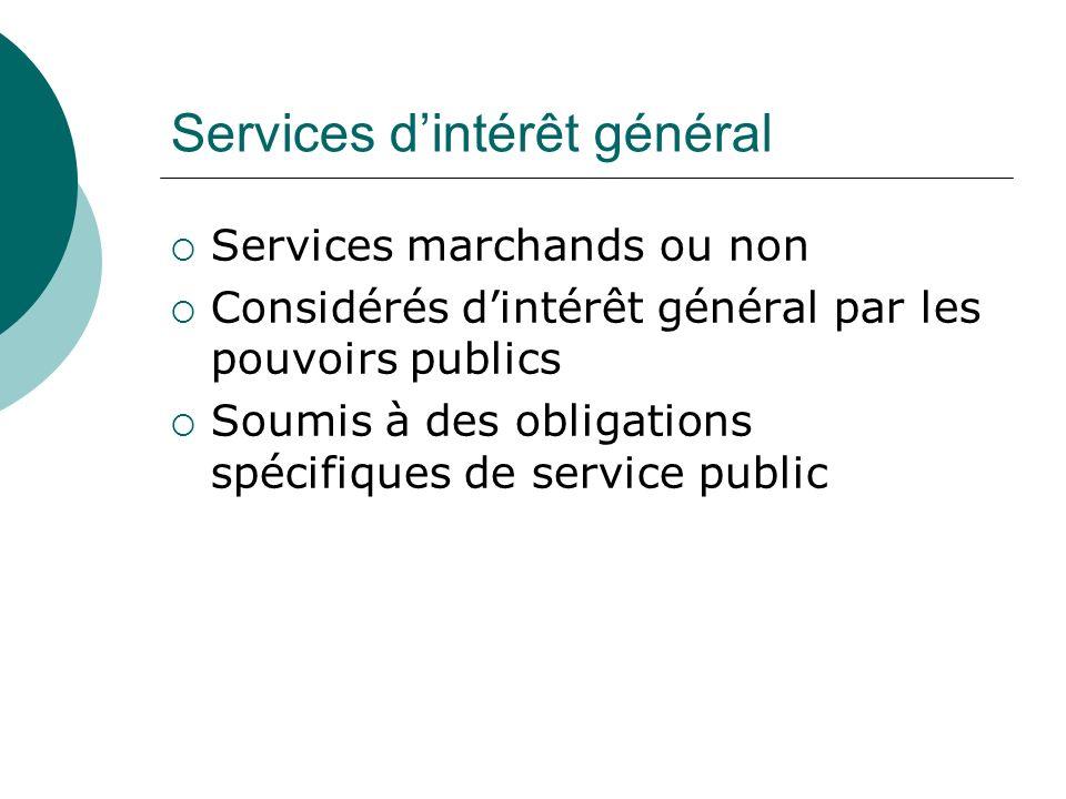 Services dintérêt général Services marchands ou non Considérés dintérêt général par les pouvoirs publics Soumis à des obligations spécifiques de servi