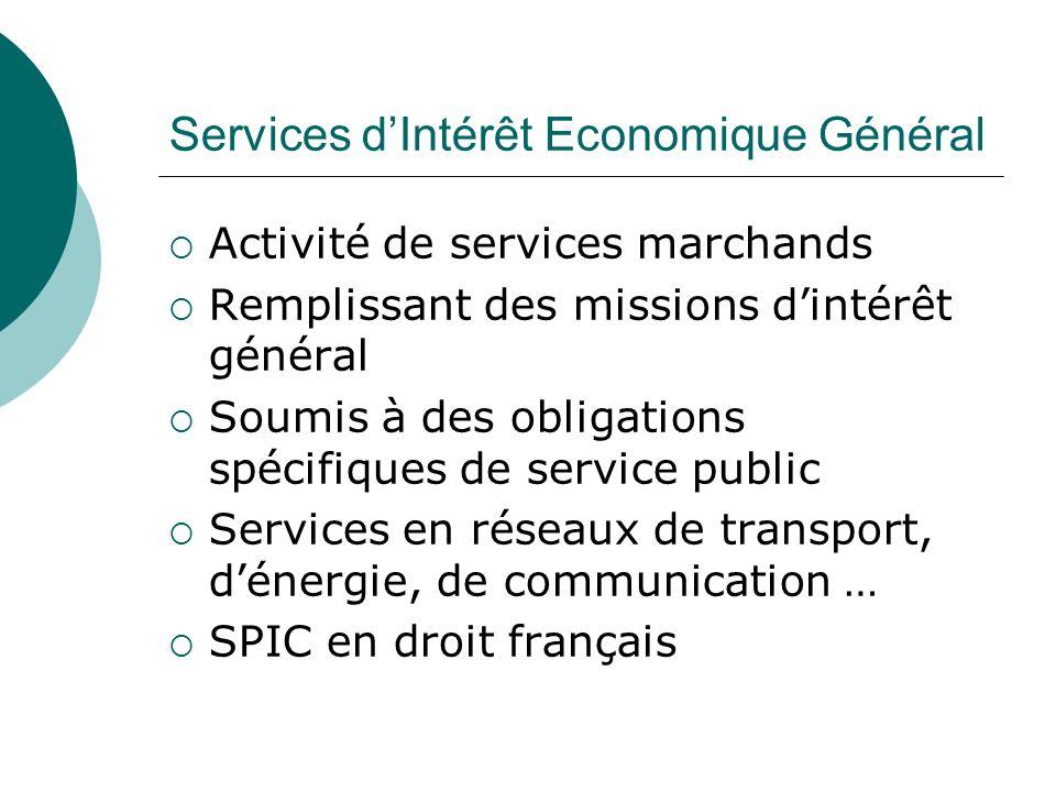 Services dIntérêt Economique Général Activité de services marchands Remplissant des missions dintérêt général Soumis à des obligations spécifiques de