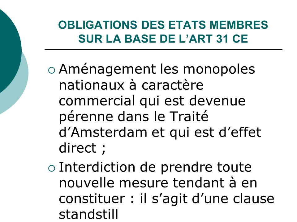 OBLIGATIONS DES ETATS MEMBRES SUR LA BASE DE LART 31 CE Aménagement les monopoles nationaux à caractère commercial qui est devenue pérenne dans le Tra