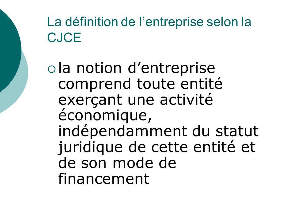 La définition de lentreprise selon la CJCE la notion dentreprise comprend toute entité exerçant une activité économique, indépendamment du statut juri