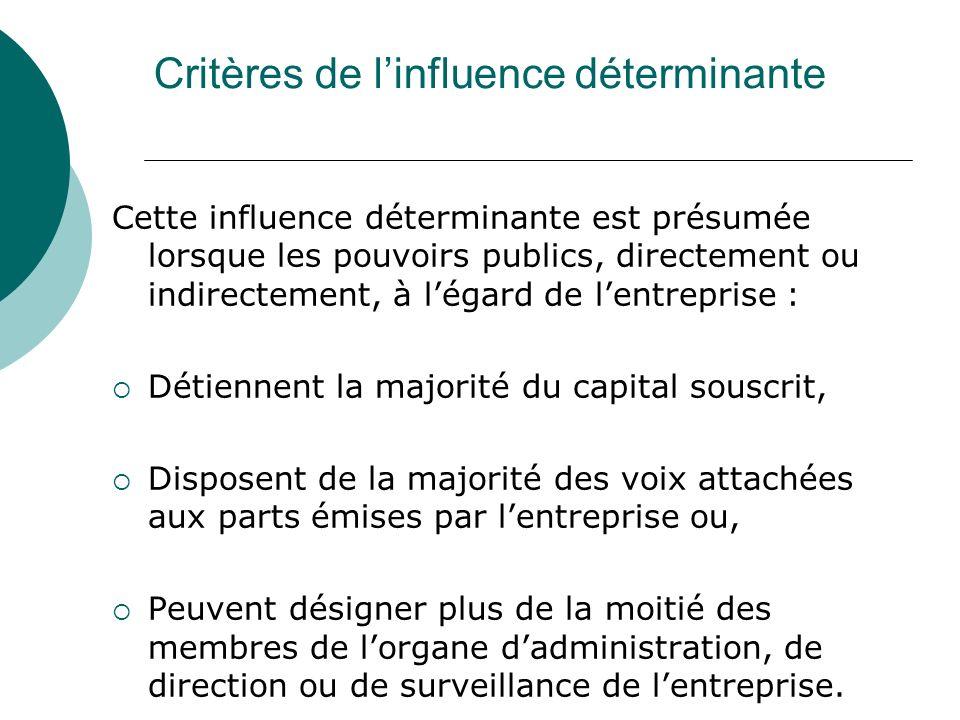 Critères de linfluence déterminante Cette influence déterminante est présumée lorsque les pouvoirs publics, directement ou indirectement, à légard de