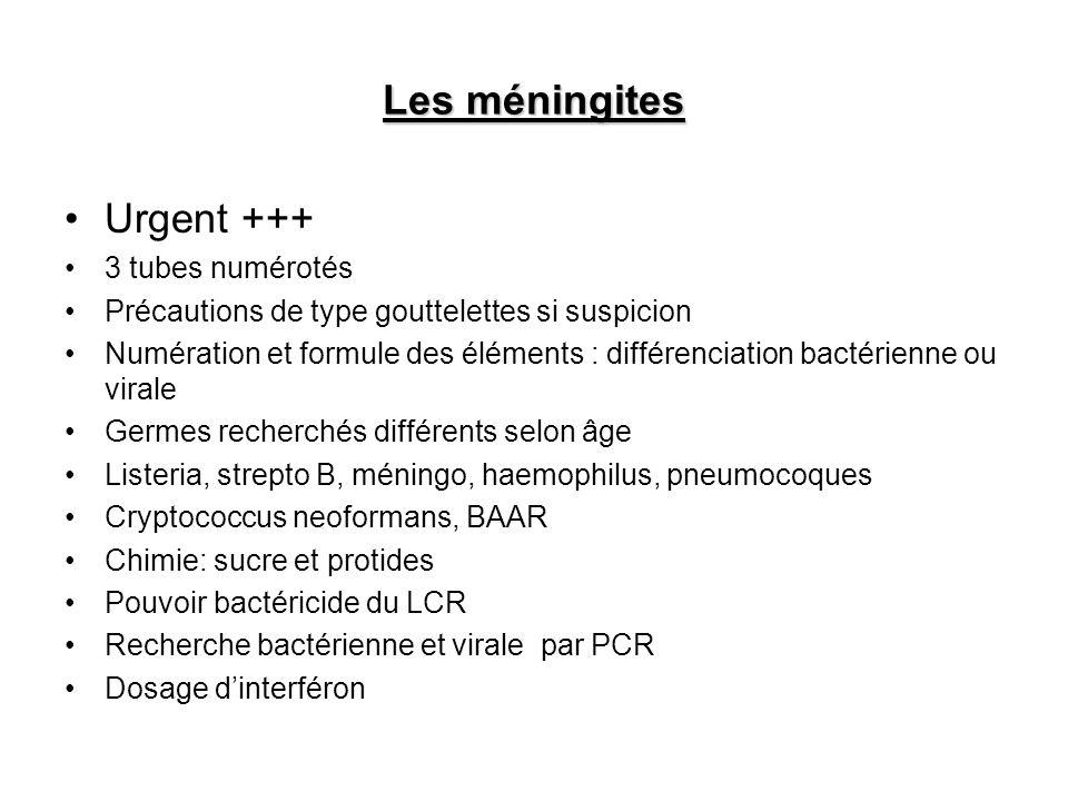 Les méningites Urgent +++ 3 tubes numérotés Précautions de type gouttelettes si suspicion Numération et formule des éléments : différenciation bactéri