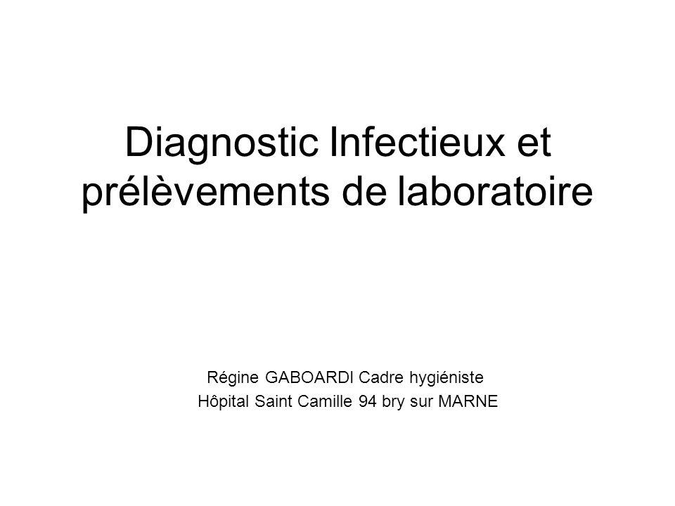 Diagnostic Infectieux et prélèvements de laboratoire Régine GABOARDI Cadre hygiéniste Hôpital Saint Camille 94 bry sur MARNE