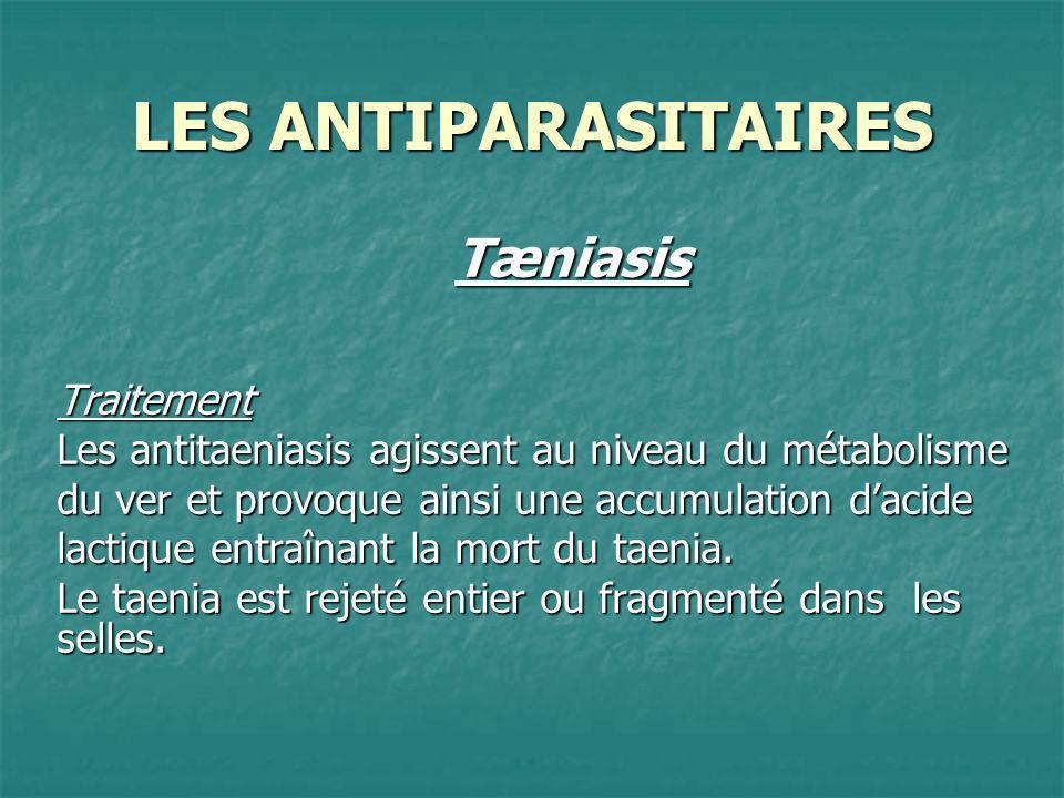 LES ANTIPARASITAIRES TæniasisTraitement Les antitaeniasis agissent au niveau du métabolisme du ver et provoque ainsi une accumulation dacide lactique