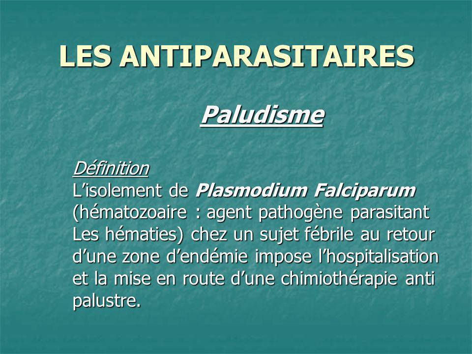 LES ANTIPARASITAIRES PaludismeDéfinition Lisolement de Plasmodium Falciparum (hématozoaire : agent pathogène parasitant Les hématies) chez un sujet fé