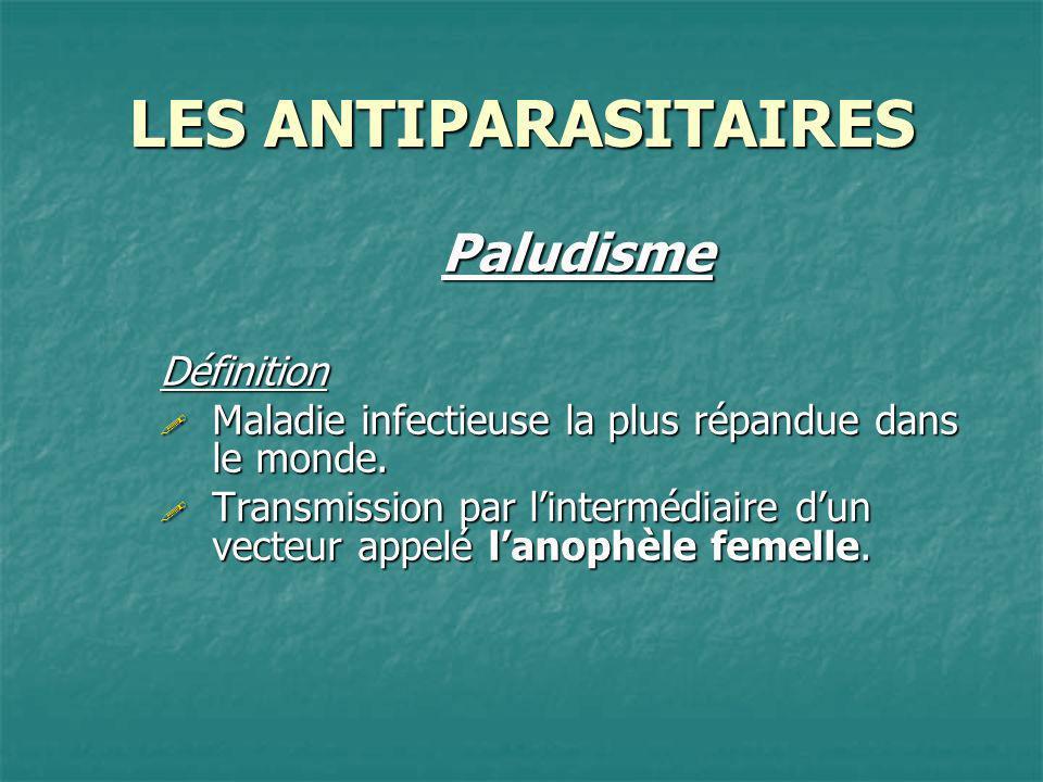 LES ANTIPARASITAIRES PaludismeDéfinition Maladie infectieuse la plus répandue dans le monde. Maladie infectieuse la plus répandue dans le monde. Trans