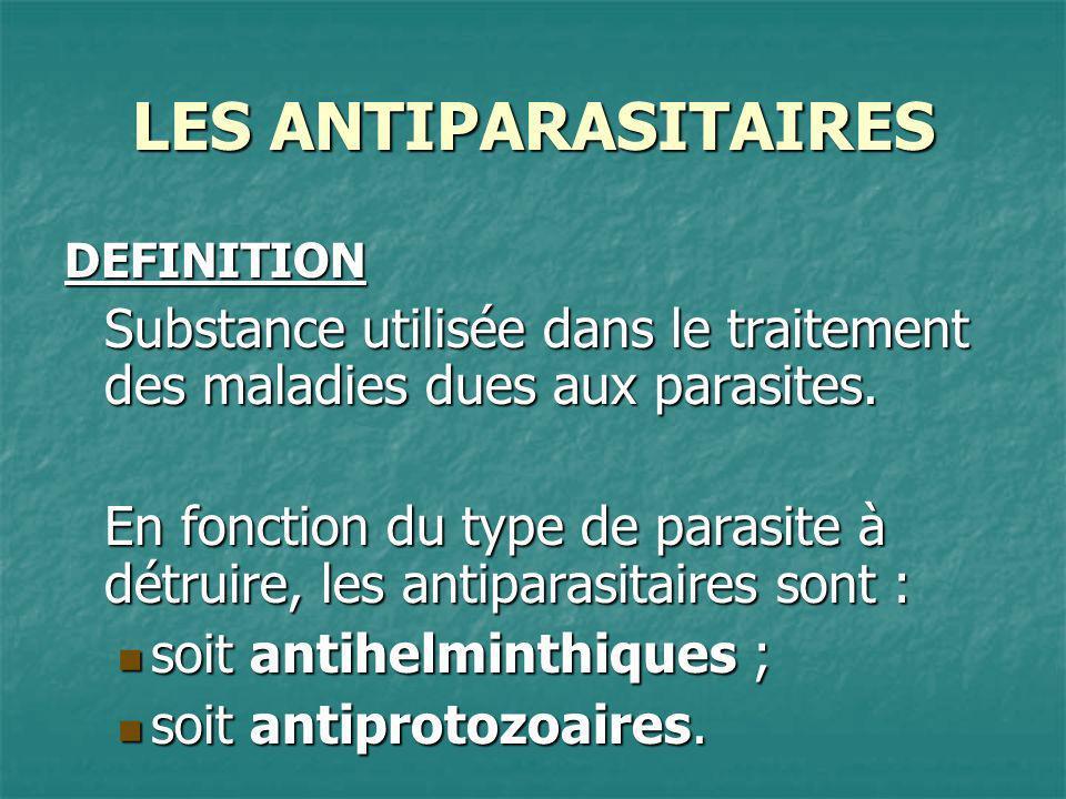 DEFINITION Substance utilisée dans le traitement des maladies dues aux parasites. En fonction du type de parasite à détruire, les antiparasitaires son