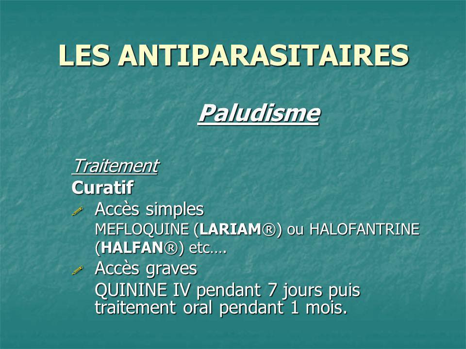 LES ANTIPARASITAIRES PaludismeTraitementCuratif Accès simples Accès simples MEFLOQUINE (LARIAM®) ou HALOFANTRINE (HALFAN®) etc…. Accès graves Accès gr