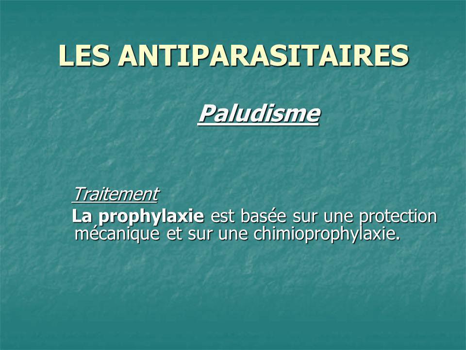 LES ANTIPARASITAIRES PaludismeTraitement La prophylaxie est basée sur une protection mécanique et sur une chimioprophylaxie.