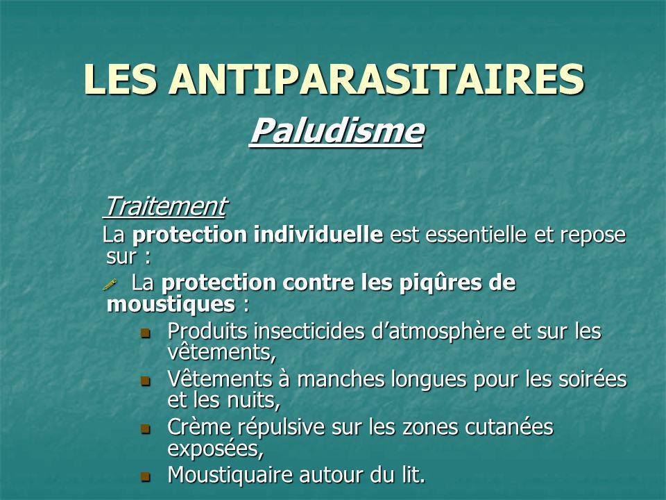 LES ANTIPARASITAIRES PaludismeTraitement La protection individuelle est essentielle et repose sur : La protection contre les piqûres de moustiques : L
