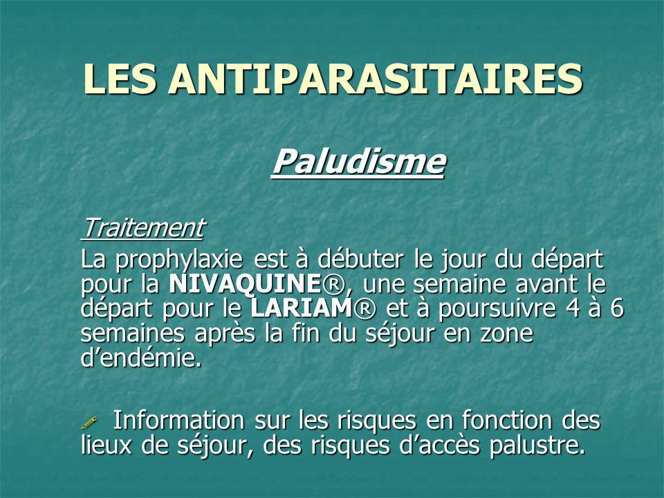 LES ANTIPARASITAIRES PaludismeTraitement La prophylaxie est à débuter le jour du départ pour la NIVAQUINE®, une semaine avant le départ pour le LARIAM