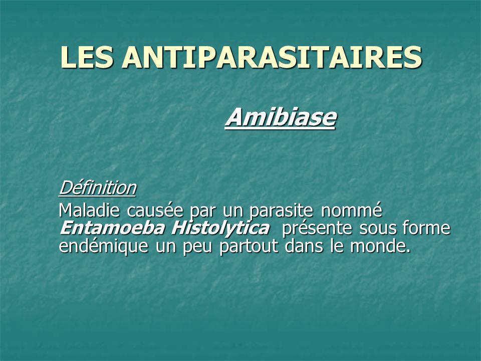 LES ANTIPARASITAIRES AmibiaseDéfinition Maladie causée par un parasite nommé Entamoeba Histolytica présente sous forme endémique un peu partout dans l