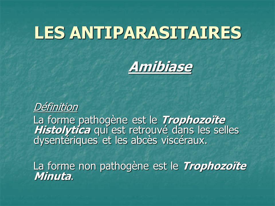 LES ANTIPARASITAIRES AmibiaseDéfinition La forme pathogène est le Trophozoïte Histolytica qui est retrouvé dans les selles dysentériques et les abcès