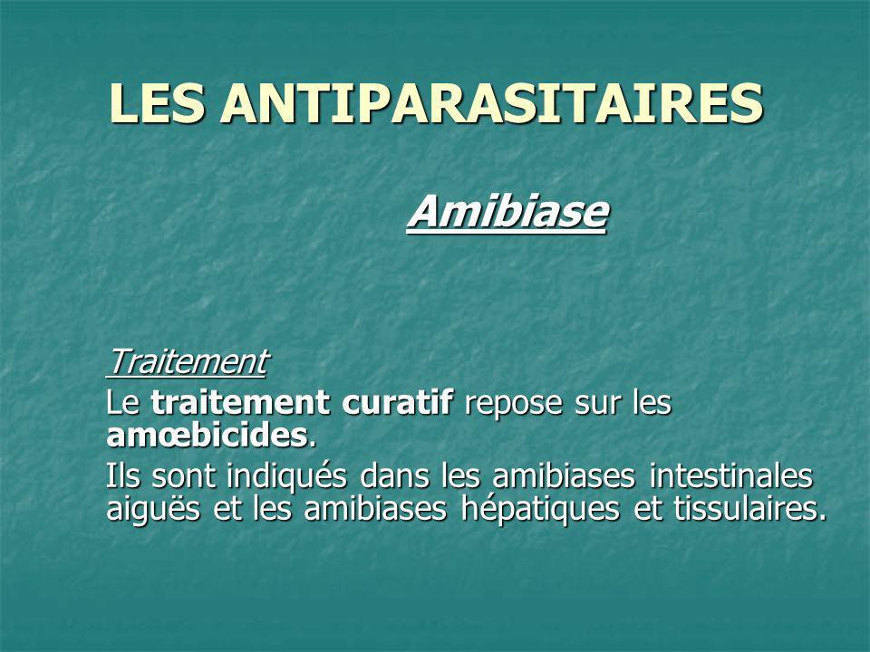 LES ANTIPARASITAIRES AmibiaseTraitement Le traitement curatif repose sur les amœbicides. Ils sont indiqués dans les amibiases intestinales aiguës et l